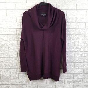 Tahari Merino Cowlneck Tunic Sweater L Purple